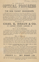 Advert For Chas. E. Braun & Co. Microscopes